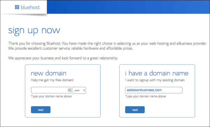 Bluehost - get or specify the domain