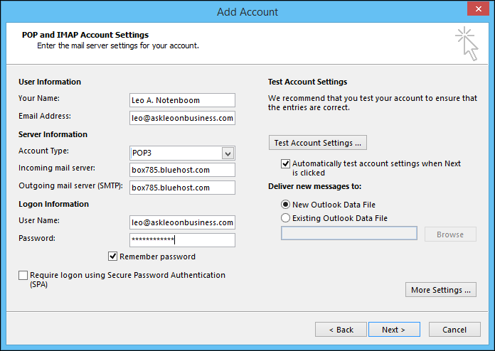Outlook Add Account Dialog