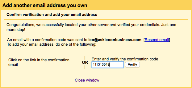 Gmail confirmation code