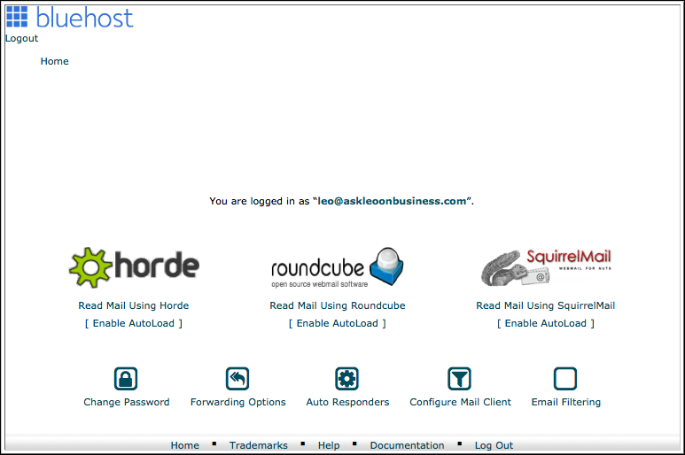 Bluehost Webmail Frontend