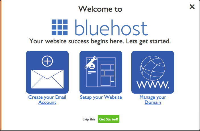 Bluehost welcome banner