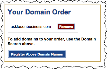 SimpleURL summary of domain name order