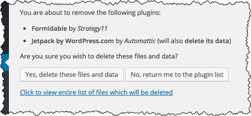 Deleting plugin confirmation.