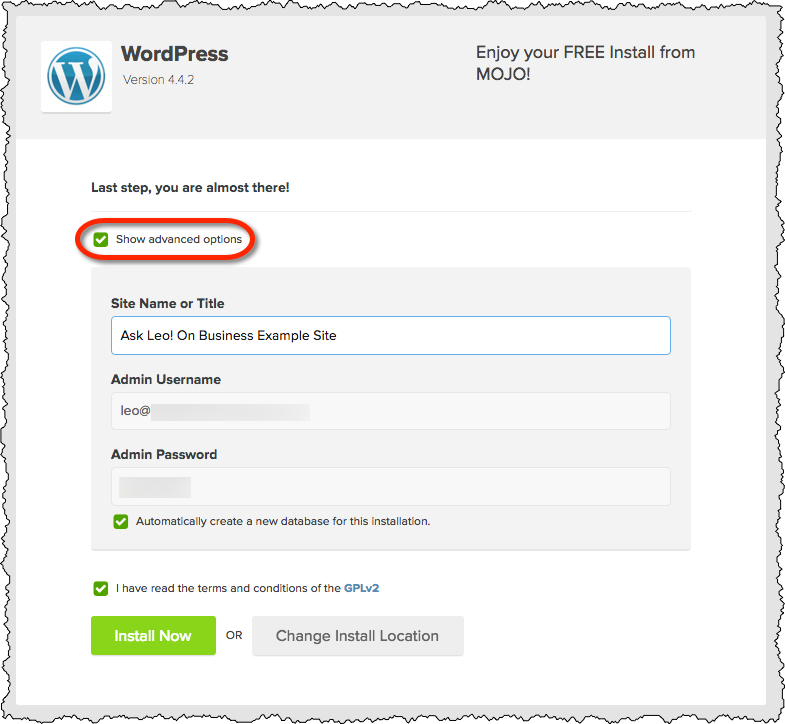 Wordpress Install - Almost There