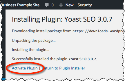 Yoast SEO - Activate Plugin