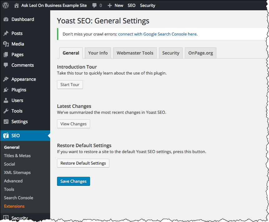 Yoast Settings