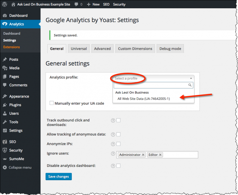 Google Analytics by Yoast settings
