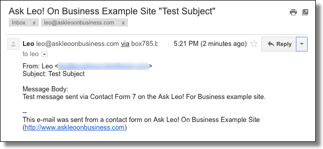 Contact Form 7 Generated Email